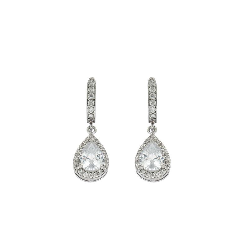 EARCOLA1 Ασημένια 925 σκουλαρίκια ροζέτες δάκρυ κρεμαστά με λευκά ζιργκόν  και κεντρική πέτρα λευκή τύπου swarovski επιπλατινωμένα 31570b7e1b6