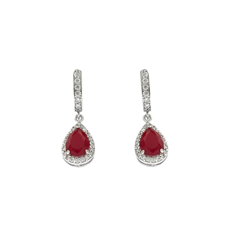 EARCOLA7 Ασημένια 925 σκουλαρίκια ροζέτες δάκρυ κρεμαστά με λευκά ζιργκόν  και κεντρική πέτρα κόκκινη μάτ τύπου swarovski επιπλατινωμένα 2140afdf333