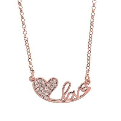 Κ458 Ασημένια 925 καρδιά love με λευκά ζιργκόν σε ρόζ επιχρύσωμα Κ18 dbf7bfd504c