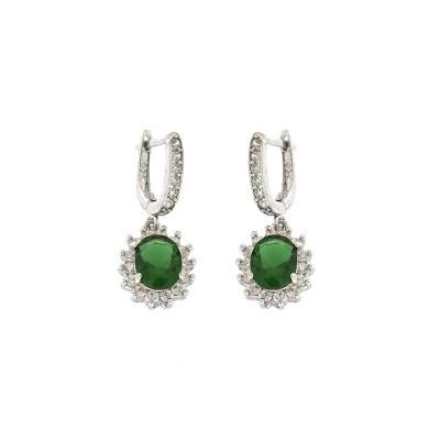 EARCOLB3 Ασημένια 925 σκουλαρίκια ροζέτες οβάλ κρεμαστά με λευκά ζιργκόν  και κεντρική πέτρα πράσινη τύπου swarovski επιπλατινωμένα 76ebc8f5b72