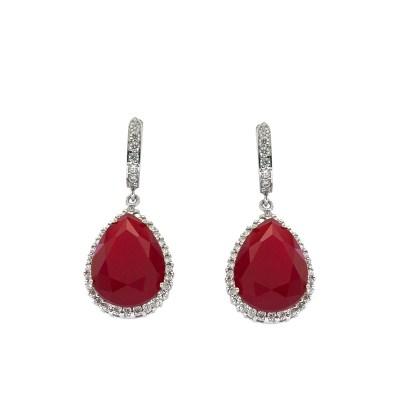 EARCOLC7 Ασημένια 925 σκουλαρίκια ροζέτες δάκρυ κρεμαστά με λευκά ζιργκόν  και κεντρική πέτρα κόκκινη μάτ τύπου swarovski επιπλατινωμένα d09156def82